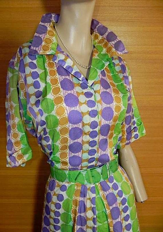 Bold Dots Vintage 50s 60s Colourful Dress L XL PLUS -on sale-