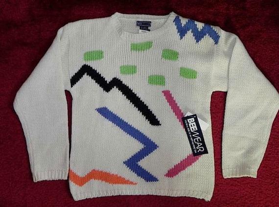 DEAD STOCK Geo Colour Block Vintage 80s New Wave Sweater S M L -on sale-