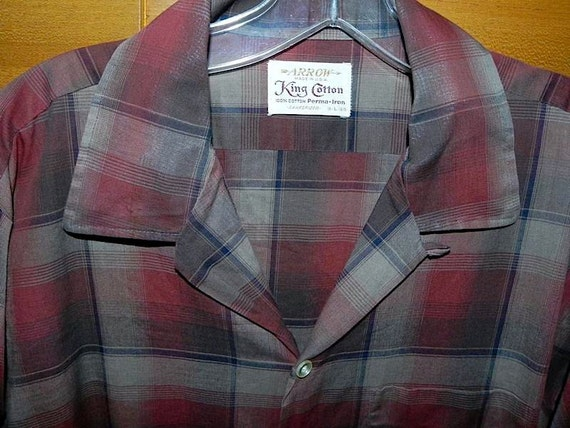 Dead Stock TOP LOOP Vintage 50s Jumbo Shadow Plaid Rockabilly Shirt M L -on sale