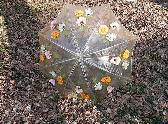Vintage 60s clear Umbrella with Flowers and Lucite Handle - on sale-