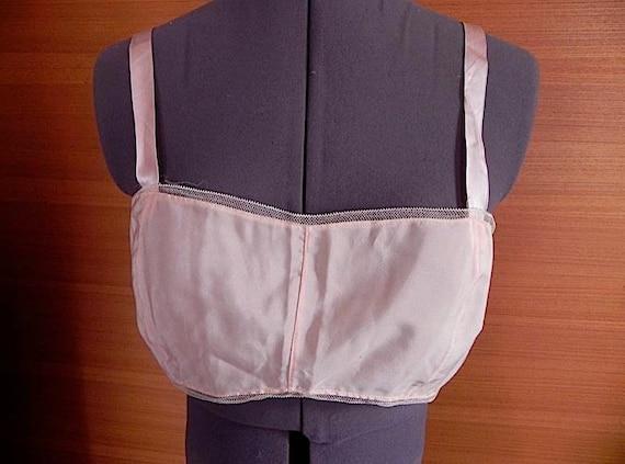 reserved for costigan6 Sweet Vintage Pink Silk 20s 30s Flapper Bra Bandette 32 34 36