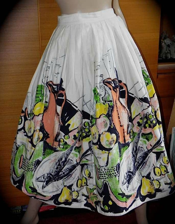 LB Adorable Vintage 40s 50s Novelty Fruit Wine Guitar Print  Cotton Full Swing Skirt S 24 - on sale..special price