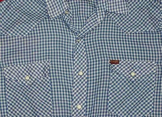 Vintage Rockabilly Blue Gingham Cowboy Shirt L -on sale-