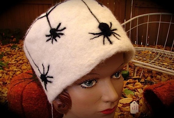 SPIDERS and WEB Needle Felted Wool Artist Designed Hat