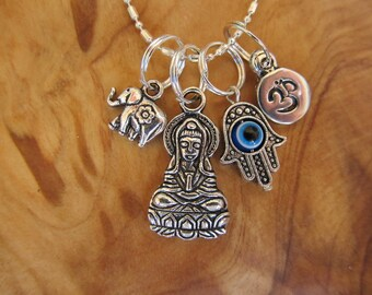 Buddha, Hamsa with Evil Eye, Om and Lucky Elephant Protection Charm Necklace, Yoga Jewely, Zen, Spiritual, Buddhism