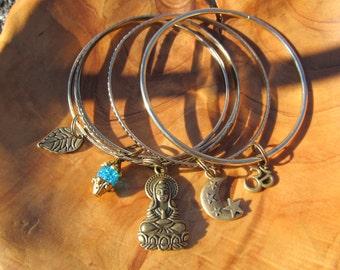 Antique Brass - Gold Tone Buddha Bangle Bracelet Set with Buddha, Om, Leaf, Moon and Star and Turquoise Dangle, Zen, Yoga Jewelry, Buddhism,