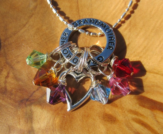 Mother's Day - GRANDMOTHER with HEaRT - Family Birthstone Charm necklace - Personalize - Choose any swarovksi crystals- Great Gift