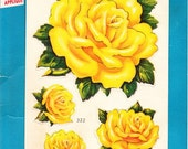 Vogart Iron on Fabric Appliques \/\/ Vintage \/\/ Yellow Roses\/\/