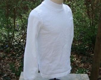 size 8 or 10 Kids long sleeve Mock Turtle Neck t shirt BLANK plain white Tee
