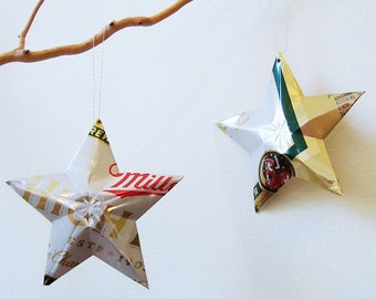 Miller High Life, Recycled Beer Can Ornaments, set of 2