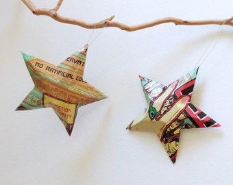 Peace Green Tea Stars Christmas Ornaments Soda Can Upcycled Iced Tea