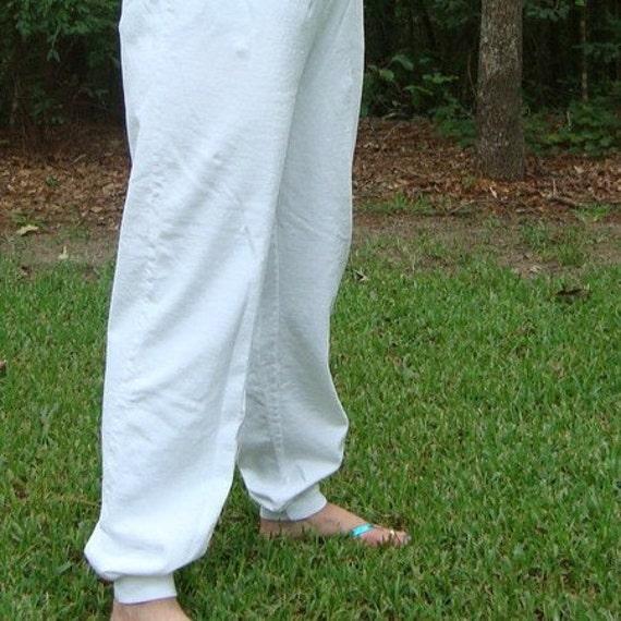 Plain White Vintage Sweatpants fleece, women, size L, Large, Cotton, Prepared for Dye, PFD