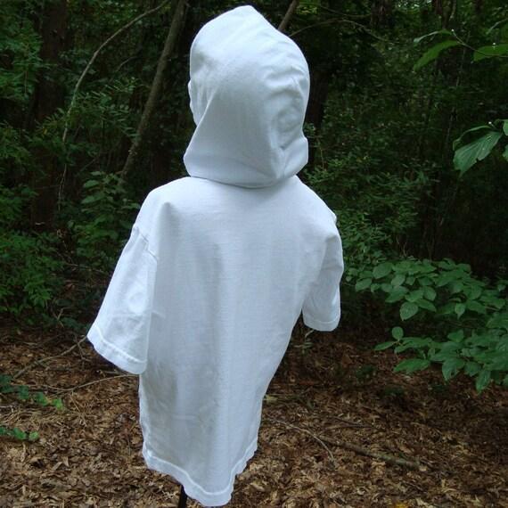Sz 10 Child, Vintage Hoodie, Plain White, Hooded T Shirt White, Short sleeve, Tee Shirt, Prepared for Dye,  Costume