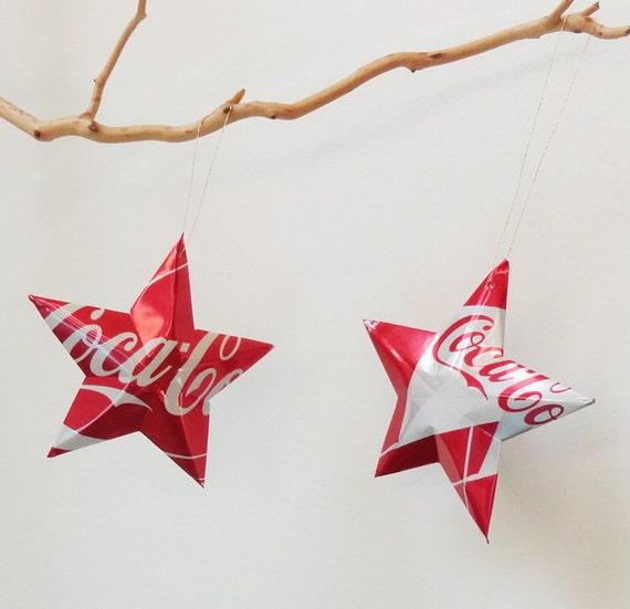 Coke Summer Kite Stars Christmas Ornaments  Soda Can Upcycled Coca Cola