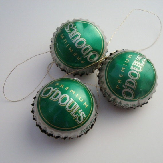 O Douls Christmas Ornaments Near Beer Bottle Cap Upcycled
