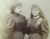 Cabinet Card - Girls with Long Wavy Hair and Huge Puffy Sleeves