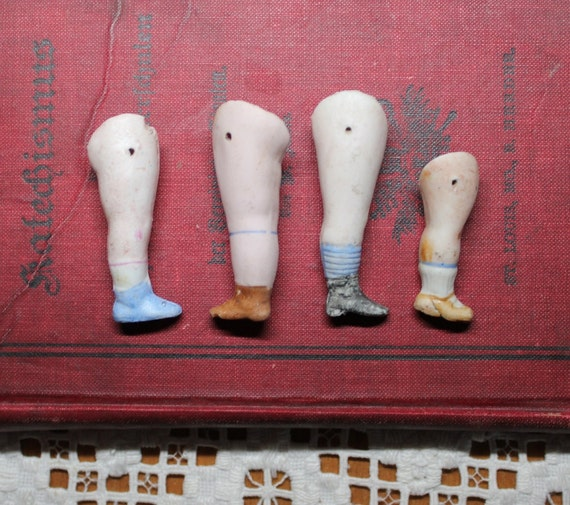Four Painted Bisque Doll Legs from Germany