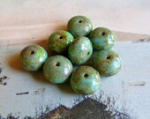 Last Lot . Raw Rustic Turquoise . Czech Picasso Glass Rondelle Beads (10)