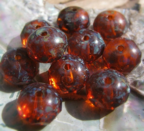 SALE .  Carnelian . CZECH Faceted Glass PICASSO Glass Beads (10)
