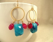 Blue Moonstone and Hot Pink Chalcedony Earrings