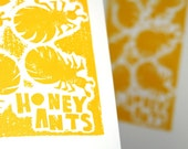 Hand Pulled Print, Raw Art Letterpress, Cute Honey Ants, Australia, Wall Art, Printmaking, Relief Print, Tyography