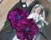 Eggplant Purple Velvet Hydrangea Bobby Pins