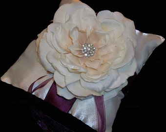 Ivory or White and Purple Wedding Ring Bearer Pillow