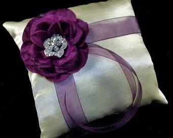 Ivory or White Eggplant Purple Wedding Ring Bearer Pillow