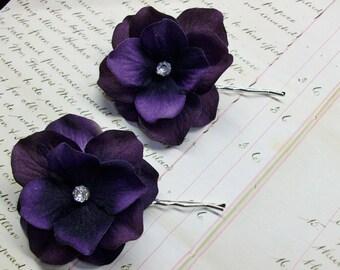 Deep Purple Velvet Hydrangea Bobby Pins