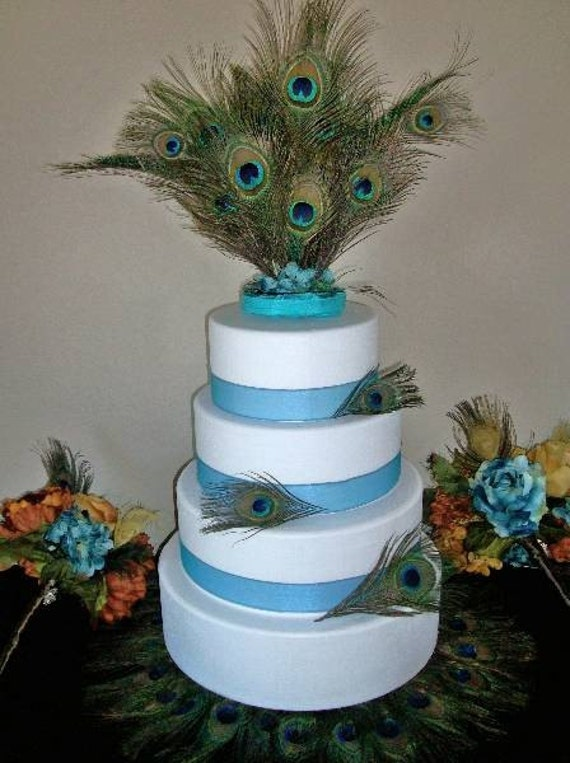 Peacock Feather Wedding Cake Topper Centerpiece
