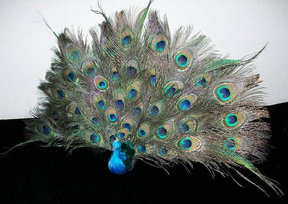Peacock Bird Fan Tail Feathers Wedding Cake Topper Centerpiece