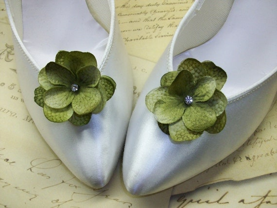 Items Similar To Sage Green Hydrangea Flower Wedding Shoe Accessories Bridal