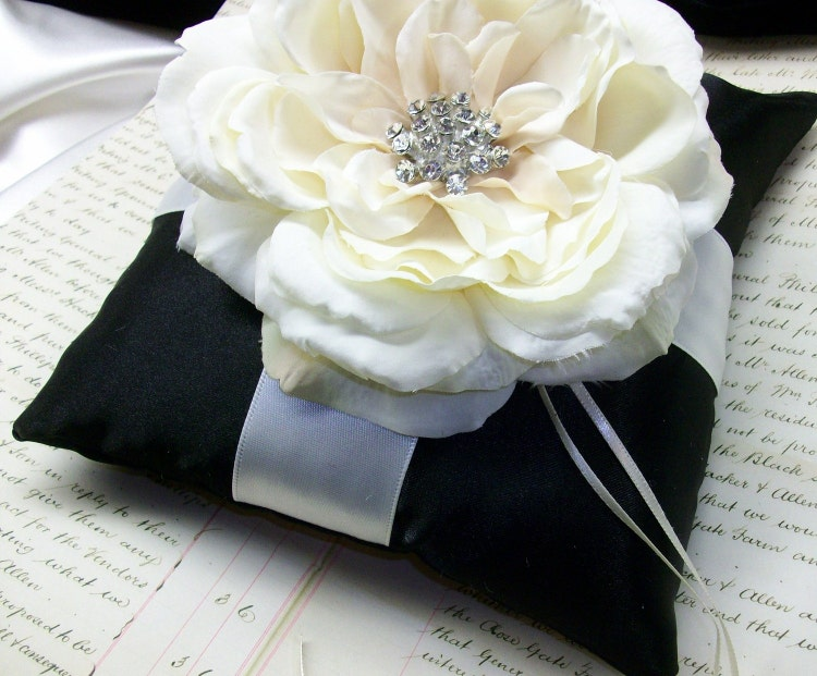 If The Ring Fits Asian Inspired Wedding: Ivory Or White And Black Wedding Theme Ring By