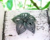 Transparent Charcoal Bloom - French Beaded Flower Hair Clip
