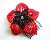 Tango Bloom - Red and Black French Beaded Flower Hair Comb
