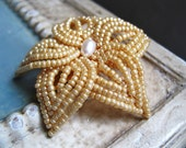 Champagne Bloom - Gold French Beaded Flower Hair Clip