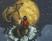Children's Wall Art Print - The Mariner and the Whale (fits 8x10 frame)