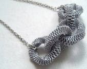 Fall into Ribbon - An Elegant Silvery Statement (necklace)