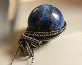 Blue lapis lazuli sterling silver statement necklace wrapped pendant