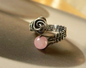 Rose - Rose Quartz Sterling Silver Handcrafted Wire Wrapped Ring, OOAK jewelry