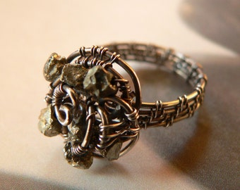 Golden Rose, Sterling Silver Golden Khaki Pyrite Wire Wrapped Ring, OOAK Jewelry