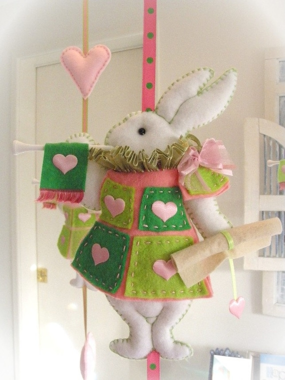 Nursery Mobile - White Rabbit in court -  pink and bright green