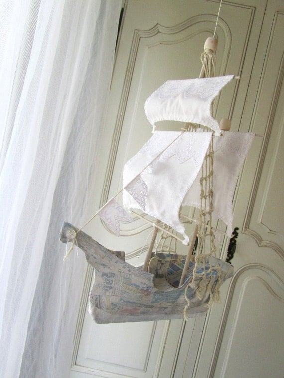 RESERVED for Maggie. Sailing Ship in Papier Maché  -  white trim