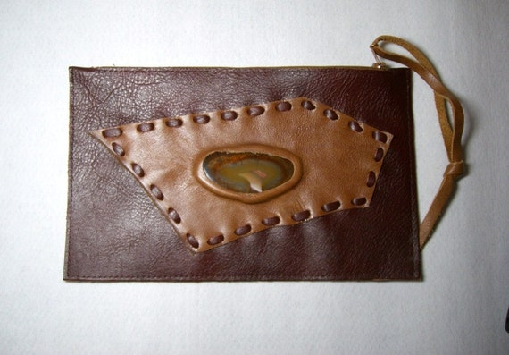 Brown leather clutch bag handmade with agate