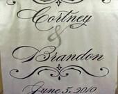 Personalized Monogram Custom Wedding Aisle Runner Hand Painted Real Fabric FREE MONOGRAM