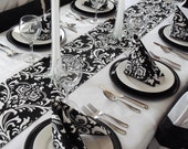 Black and White Table Runner Floral Damask Wedding Table Centerpiece Modern Decorations Home Decor Linens