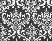 Black and White Floral Damask Curtains Black Curtain Panels Drapery Window Treatments Set Pair Black Drapes