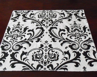 Black and White Table Square Overlay Damask Wedding Floral Table Centerpiece Black Home Decor Linens