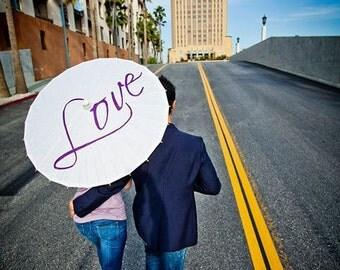 Wedding Engagement Parasol Love Umbrella Photography Prop Decor Gift Sign Decor White Ivory Parasol