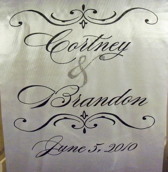 Monogram Aisle Runner Wedding Ceremony Decor Custom Real Fabric Isle Runner
